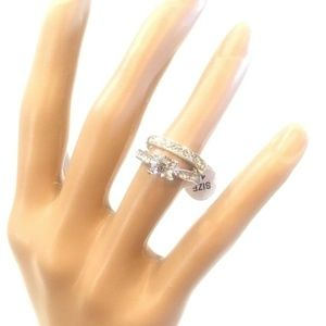 Silver Travel Cocktail Ring Set Costume Jewelry 6